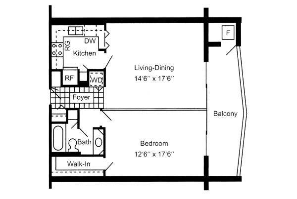 One Bedroom 710 Sq. Ft.