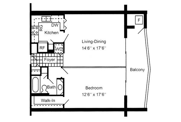One Bedroom 710 Sq. Ft.