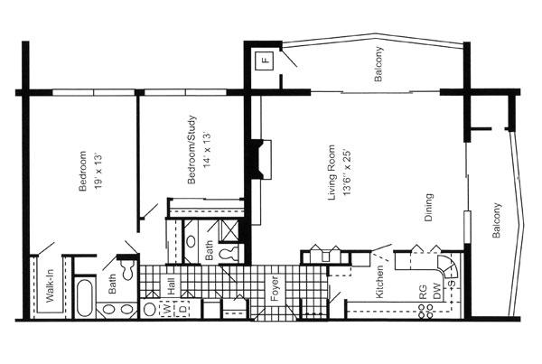 Two Bedroom Corner Unit 1,400 Sq. Ft.