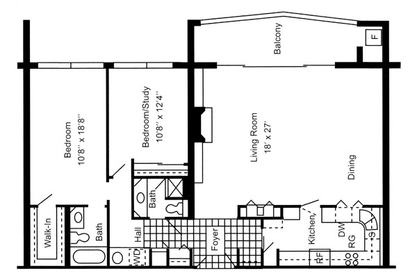 Two Bedroom 1,300 Sq. Ft.