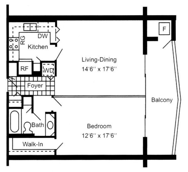 Luxury apartments in Erie, PA, South Shore Place, offers one bedroom, one bathroom 710 square foot apartments.