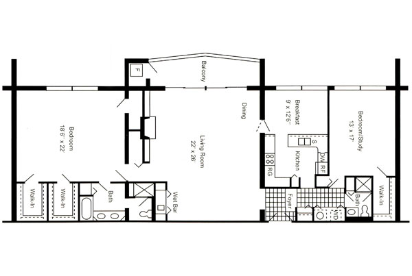 Penthouse 2,000 Sq. Ft.