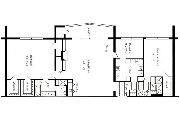Penthouse 2,000 Sq. Ft.