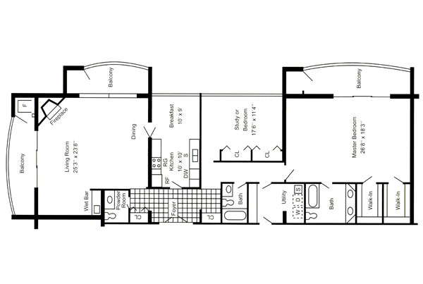 Penthouse 2,200 Sq. Ft.